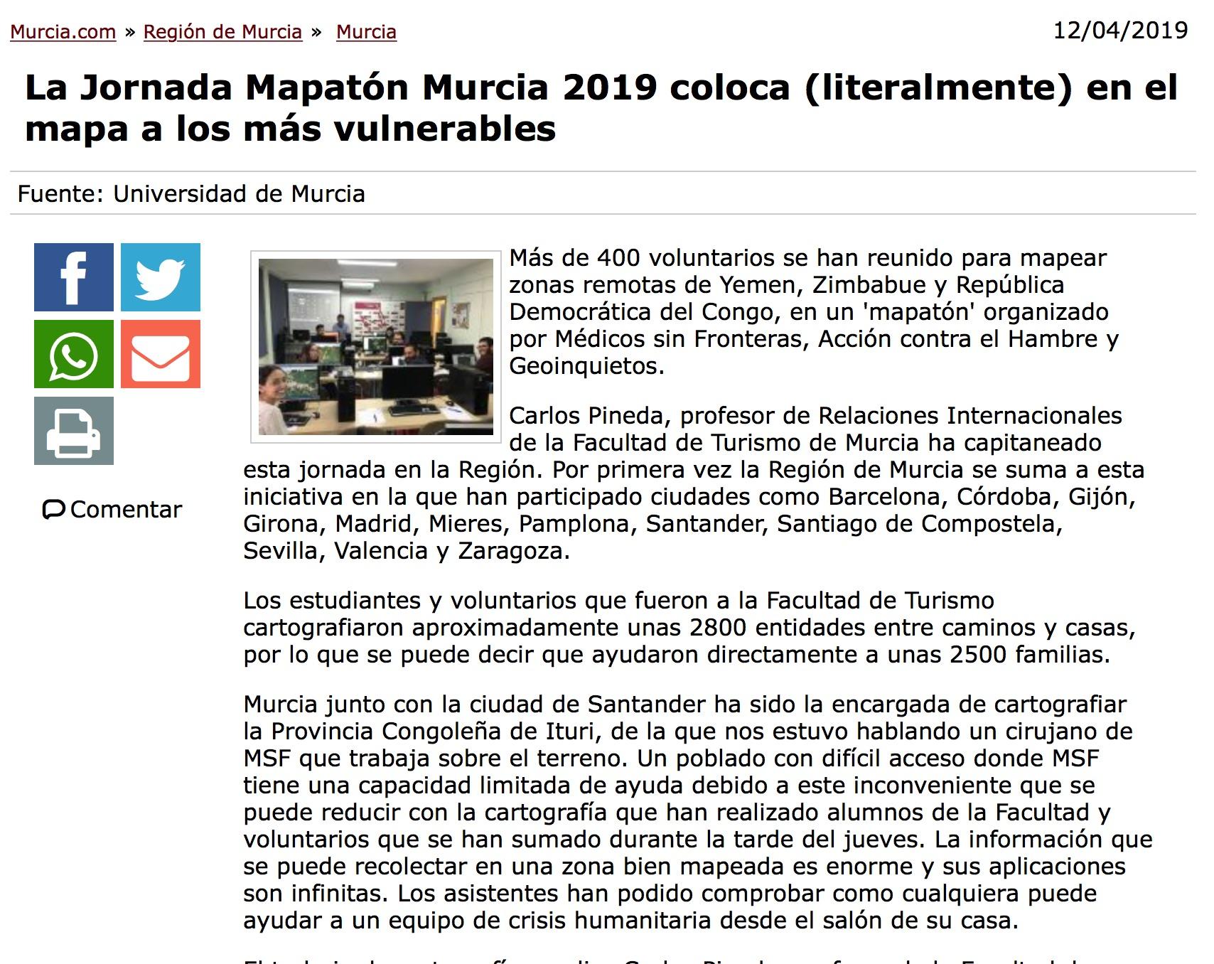 La Jornada Mapatón Murcia 2019 coloca (literalmente) en el mapa a los más vulnerables 12/04/2019