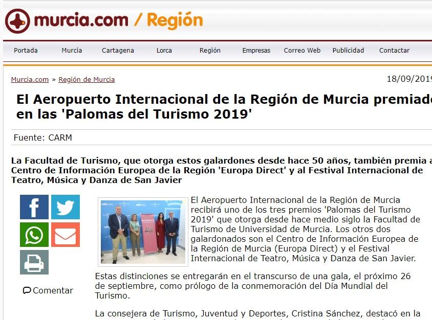 Premios palomas Murcia Región