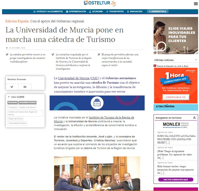 La Universidad de Murcia pone en marcha una cátedra de Turismo
