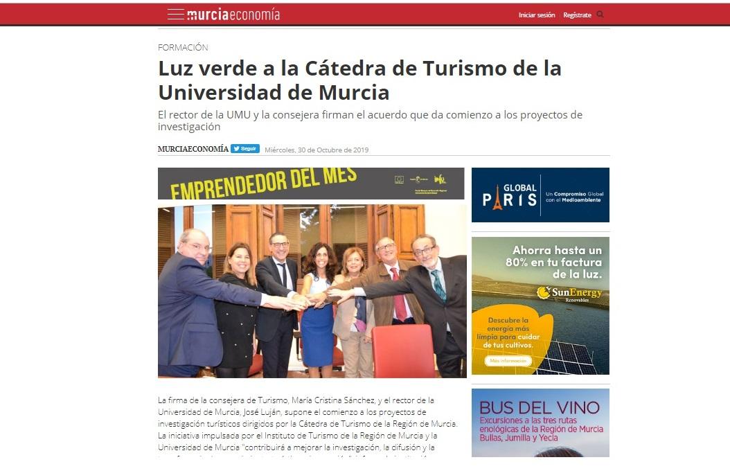 Luz verde a la Cátedra de Turismo de la Universidad de Murcia